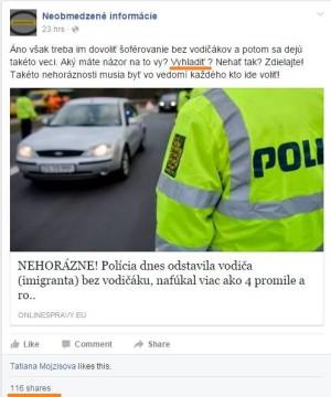 """Komentár admina zaujímavý aj pre políciu. No, aký máte názor na imigrantov - lepšie je ich """"nehať tak"""", alebo """"vyhladiť""""?  V nadpise opäť všetky znaky hoaxu - škandál, výkričníky, populárna téma, hnev."""